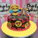 13 Birthday Cake Emoji Themed Single Tier 13th Birthday Cake Iced In Black Flickr