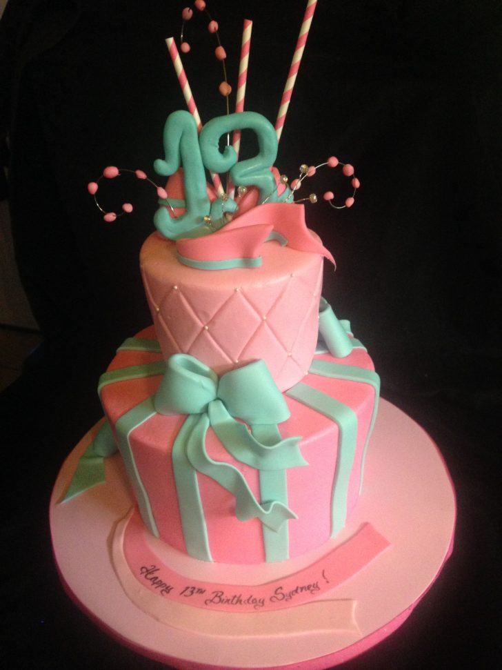 13 Birthday Cake Happy 13th Birthday A Butter Cream And Fondant Details 2 Tier Design