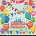 14Th Birthday Cake 14th Birthday Cake Decoration Background Flat Stock Vector Royalty