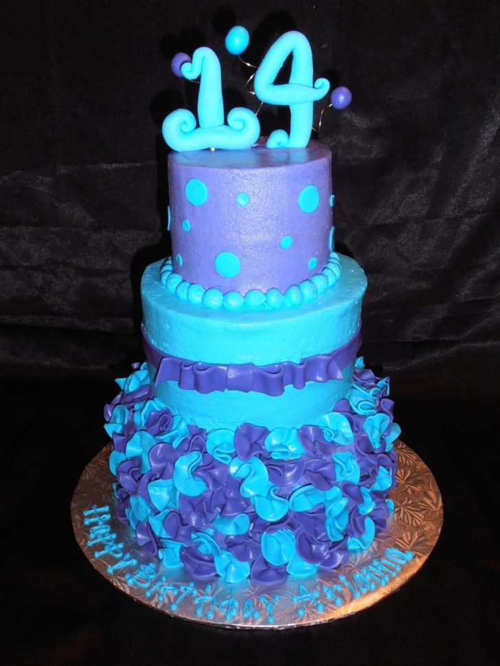 14Th Birthday Cake Blue And Purple 14th Birthday Cakecentral