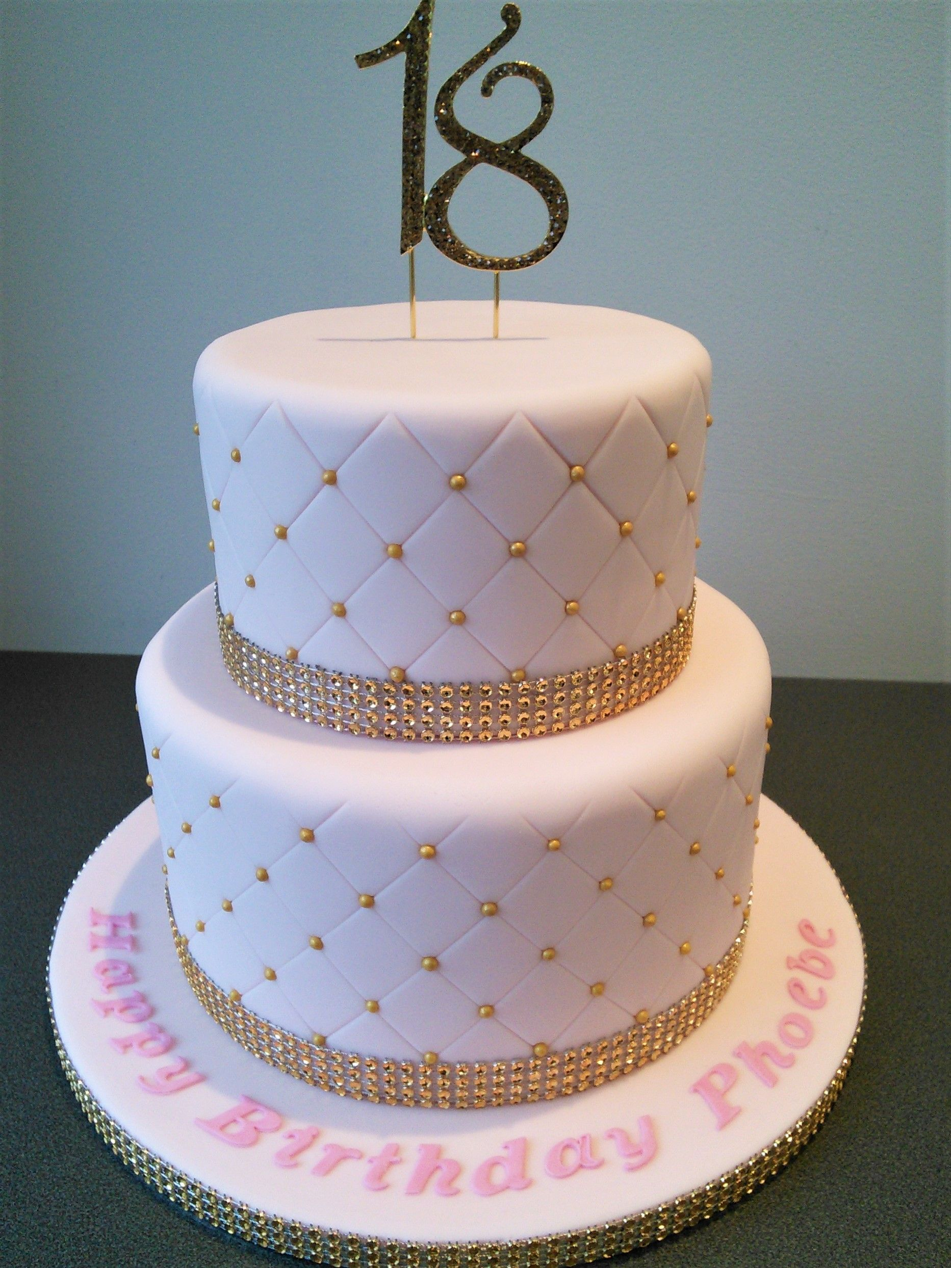18 Birthday Cake Pink And Gold Quilted 18th Birthday Cake 18th Birthday Cake