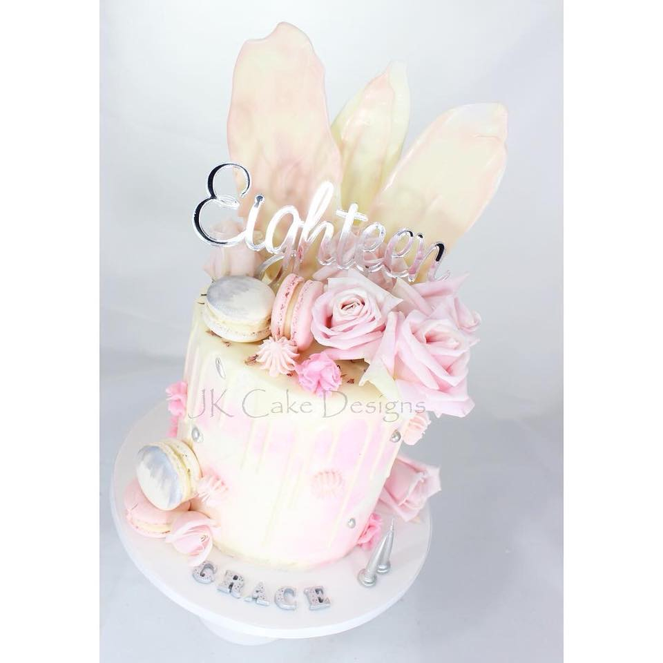 18Th Birthday Cake Designs Pink Roses White Chocolate Shards 18th Birthday Cake Jk Cake Designs