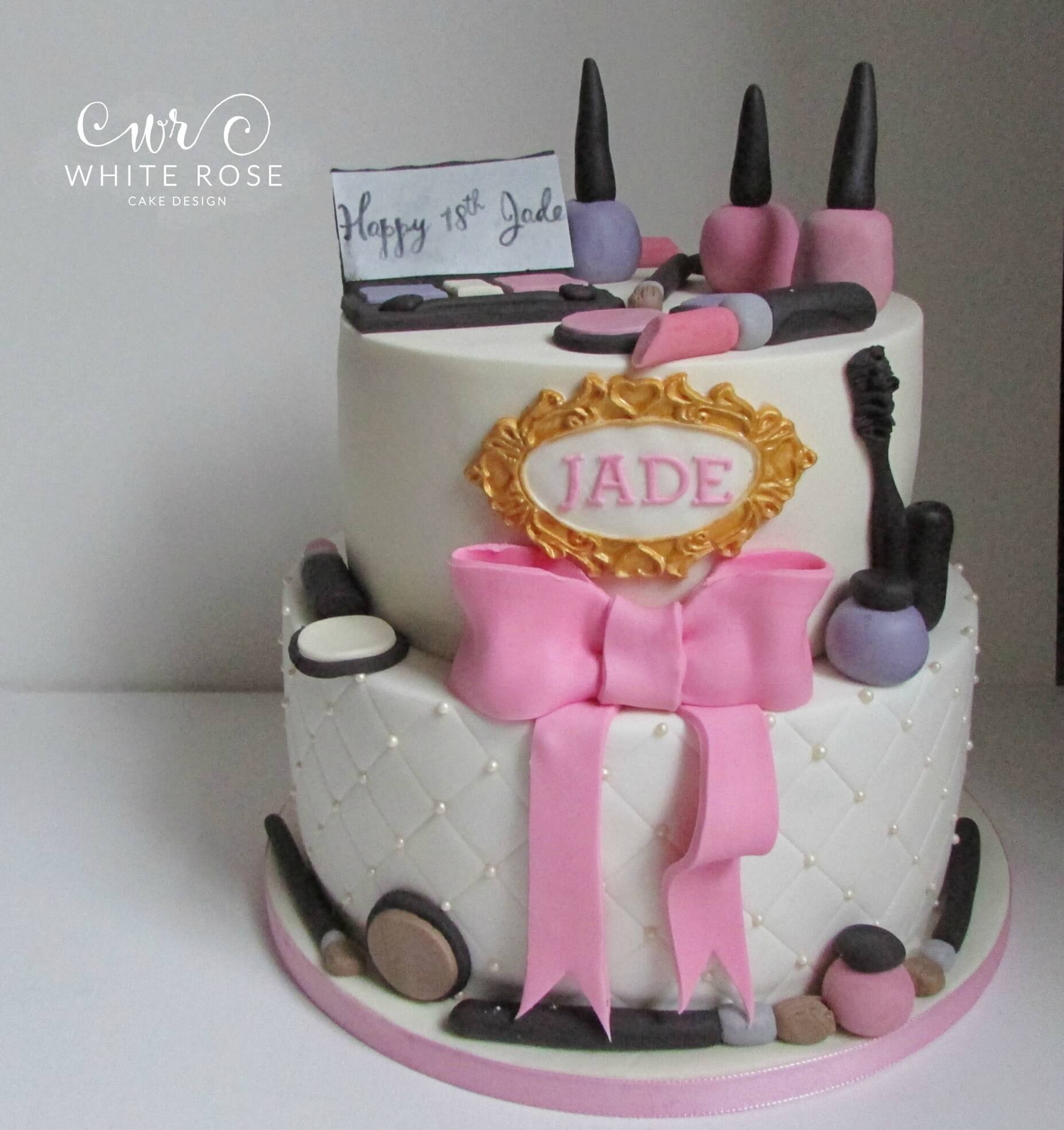 18Th Birthday Cake Designs Two Tier Make Up Themed 18th Birthday Cake Huddersfield Cake Maker