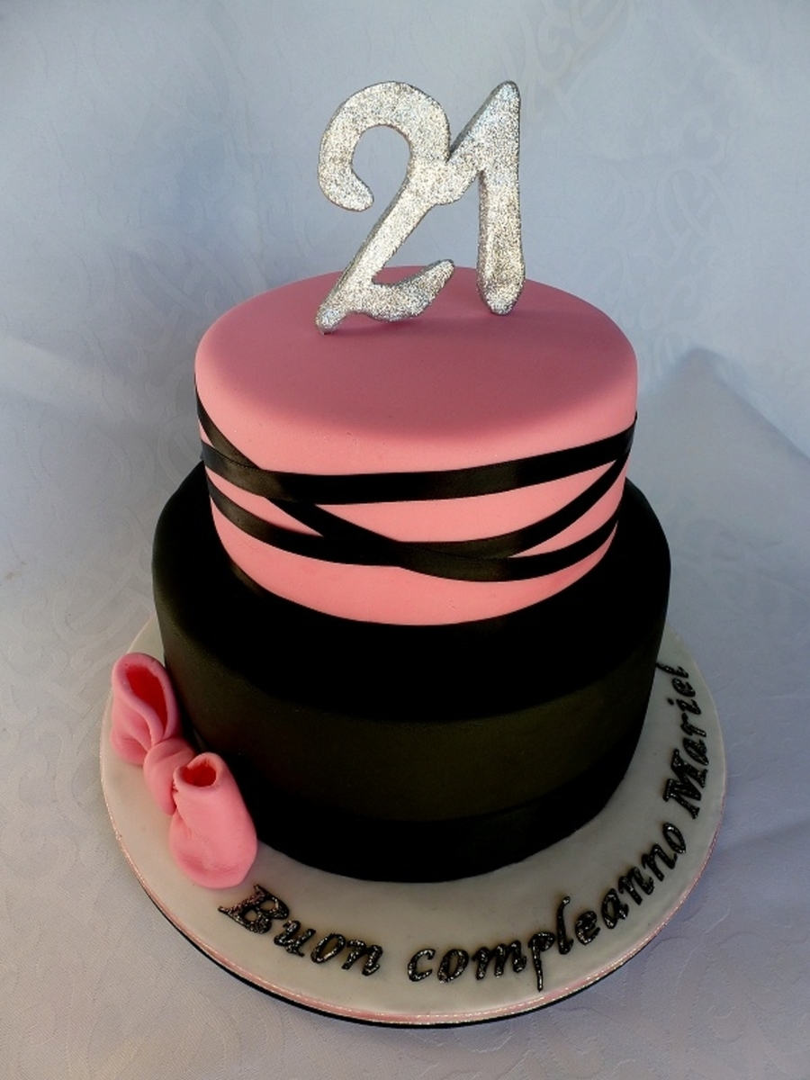21 Birthday Cakes Pink And Black 21st Cake Cakecentral