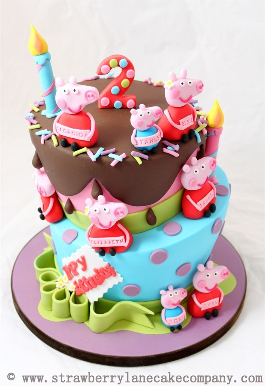 2Nd Birthday Cake Ideas Peppa Pig And George Joint 2nd For 6 Babies
