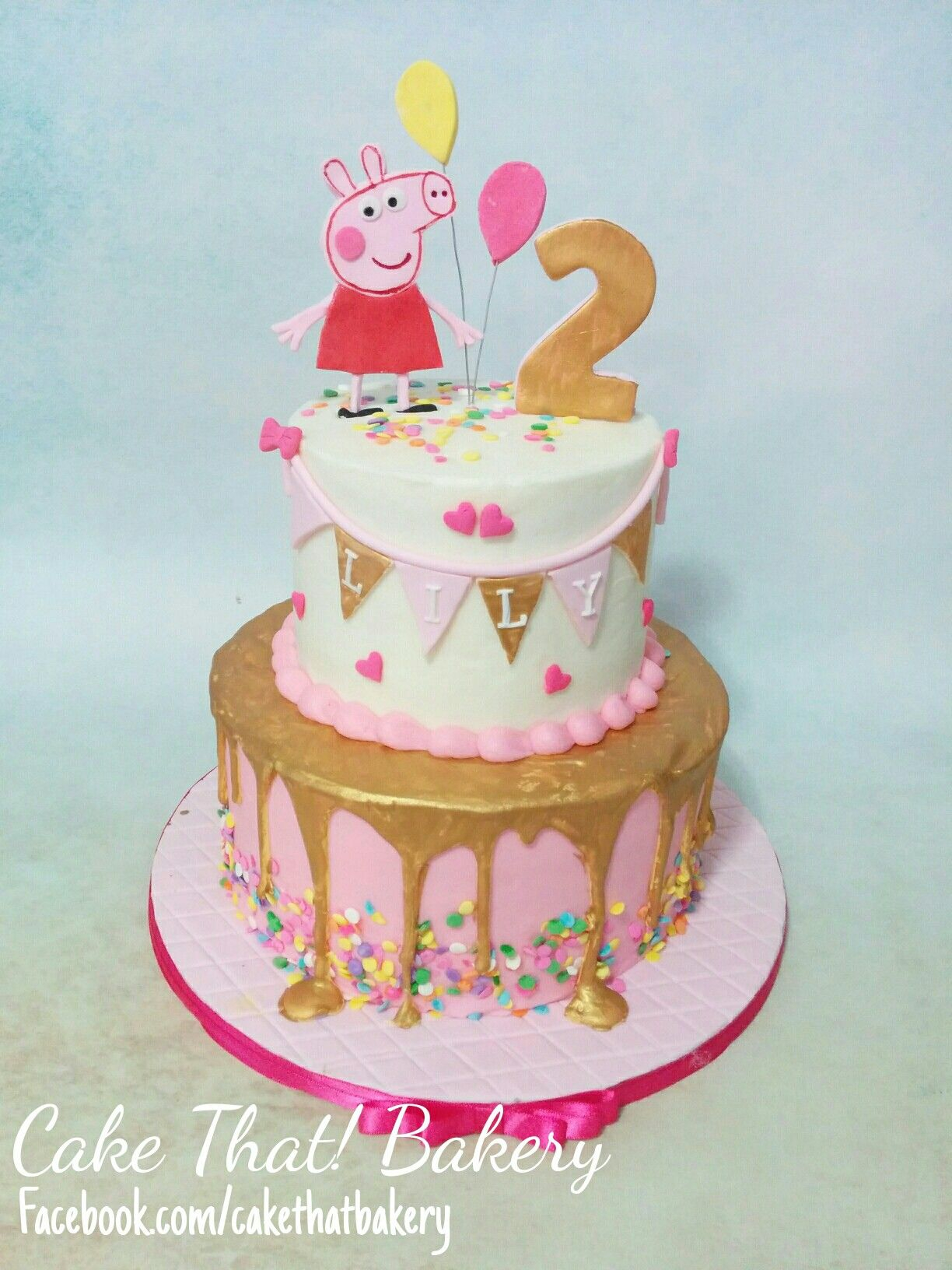 2Nd Birthday Cake Ideas Pink And Gold Peppa Pig Cakes Goodies