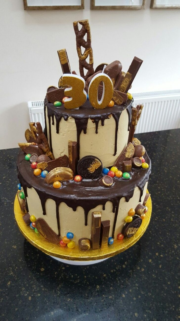 30Th Birthday Cake Ideas For Her Two Tier Chocolate Drip 30th Birthday Cake Yuumm 30 Birthday
