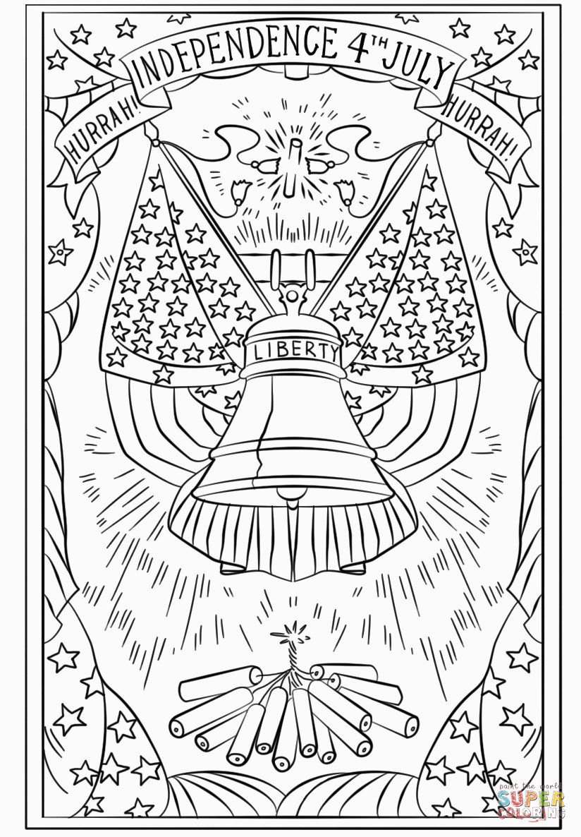 4th Of July Coloring Pages Hurrah Independence 4th July Postcard Coloring Page For 4th Of July