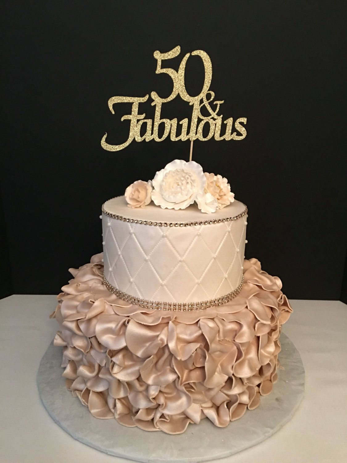 50 Birthday Cake Ideas Any Number Gold Glitter 50th Topper And Fabulous