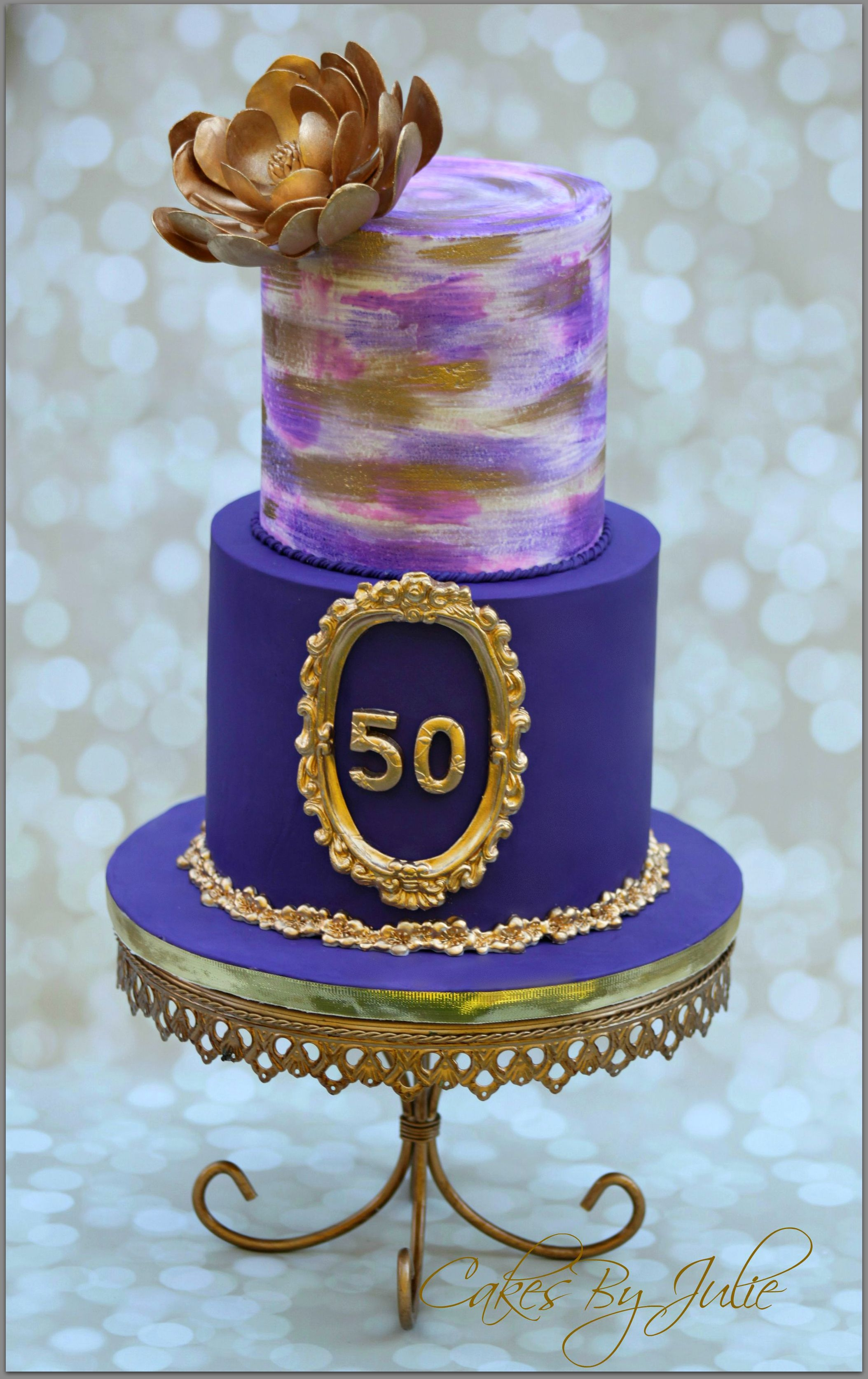 50Th Birthday Cake Images 50th Celebration For Mom Elegant And Classy With 2 Tier