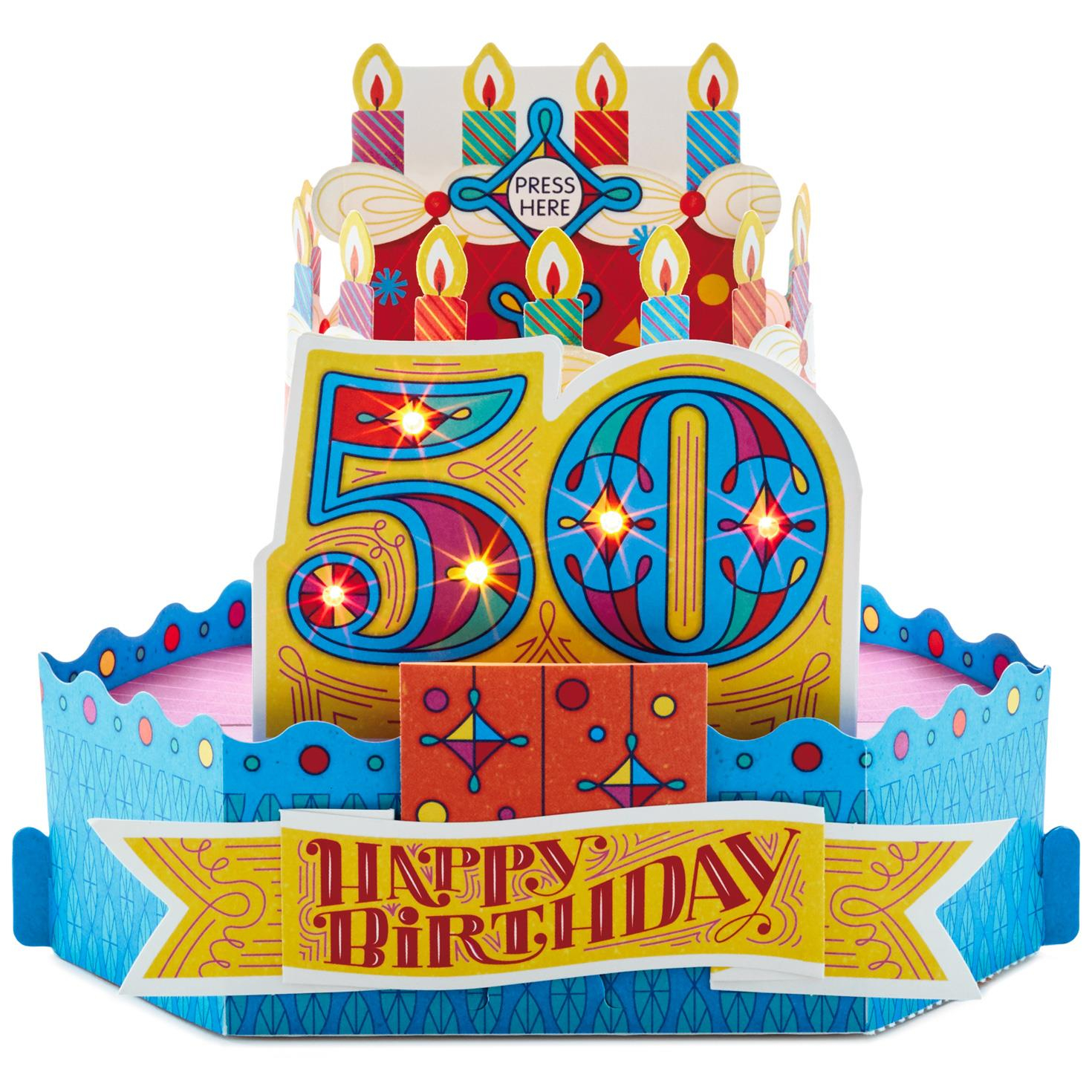 50Th Birthday Cake Images 50th With Candles Pop Up Musical Card
