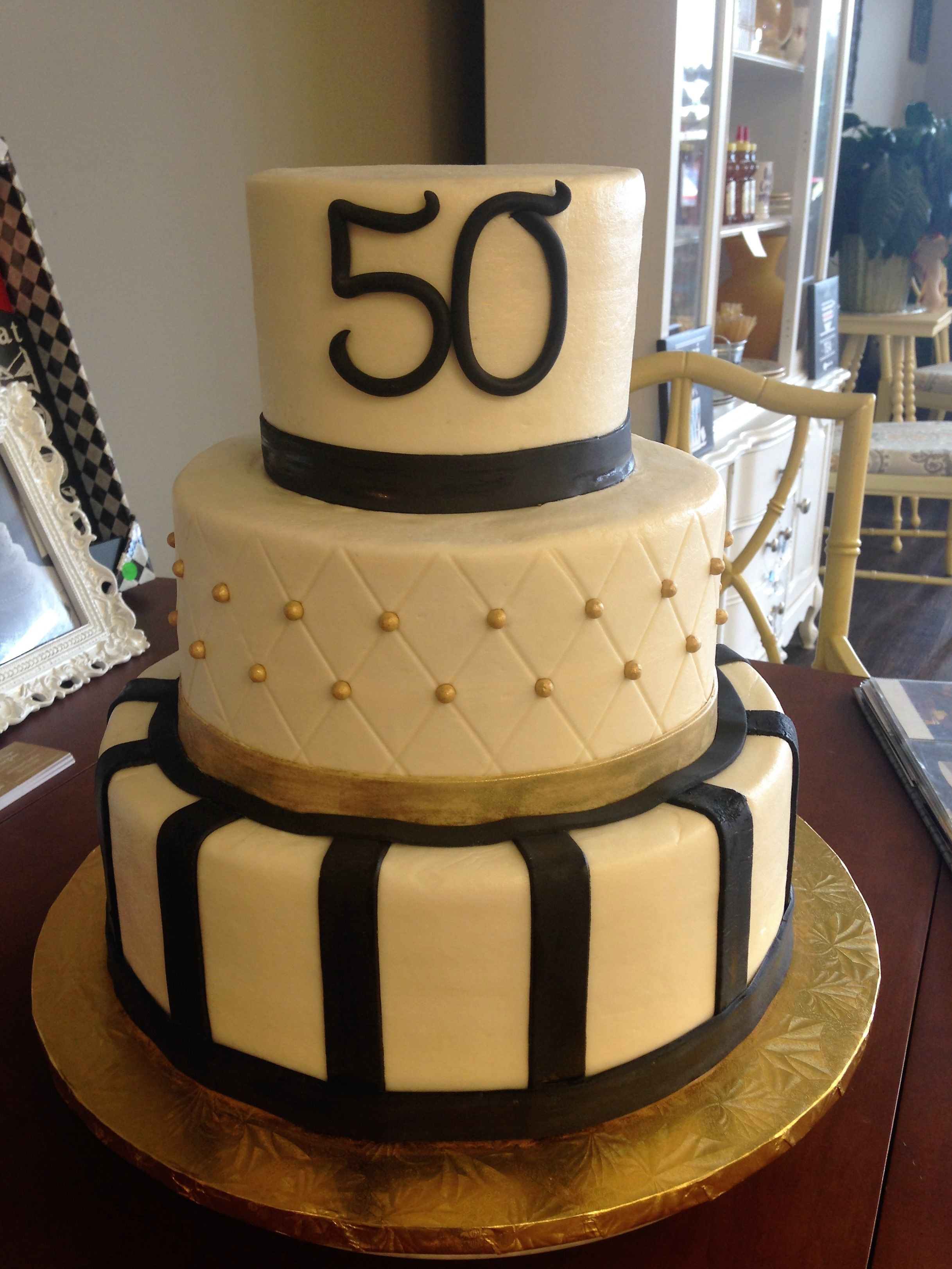 50Th Birthday Cakes For Men Gold And Black 50th Cake Mens 30