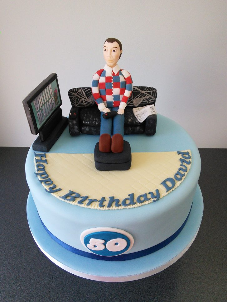 50Th Birthday Cakes For Men Man On Couch Watching Wheeler Dealers 50th Birthday Cake Cakes