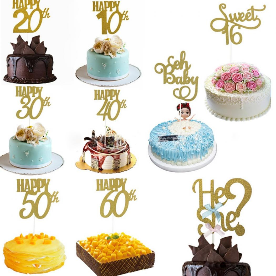 60Th Birthday Cake Toppers 1pc Happy Birthday Party Cake Topper Glitter Bride To Be 10th 30th