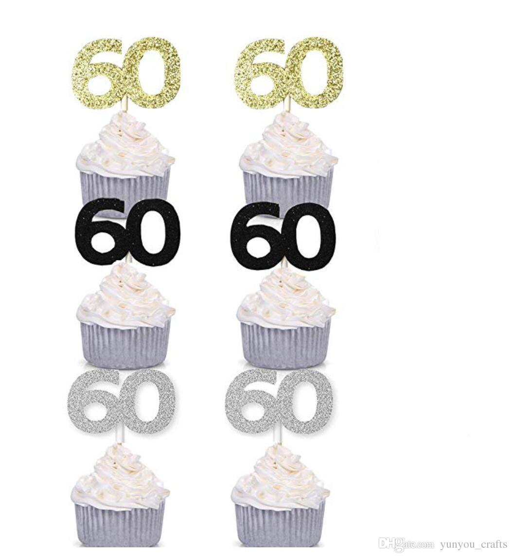 60Th Birthday Cake Toppers 2018 Number 60 Cupcake Toppers 60th Birthday Celebration Cake Decors