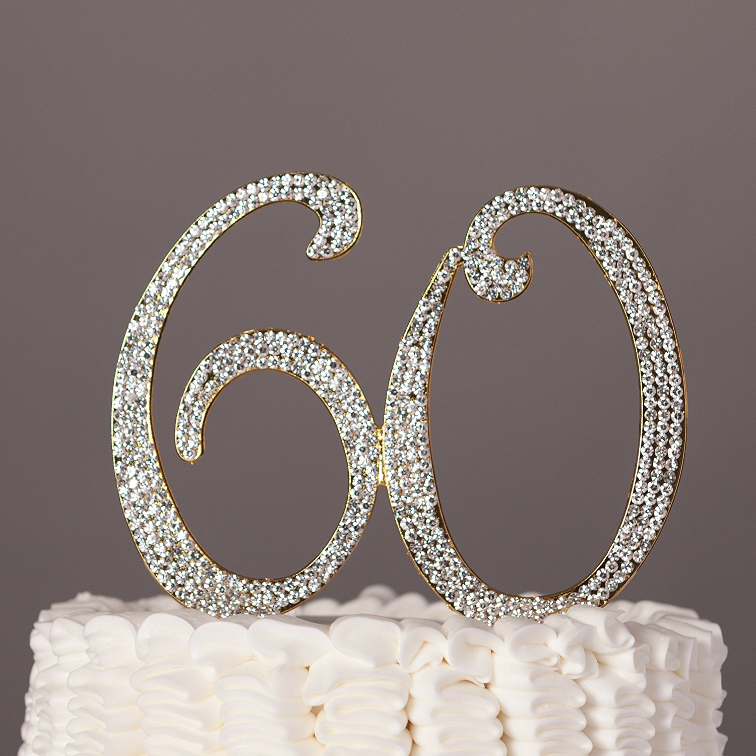 60Th Birthday Cake Toppers 60 Cake Topper For 60th Birthday Or Anniversary Gold Party Supplies