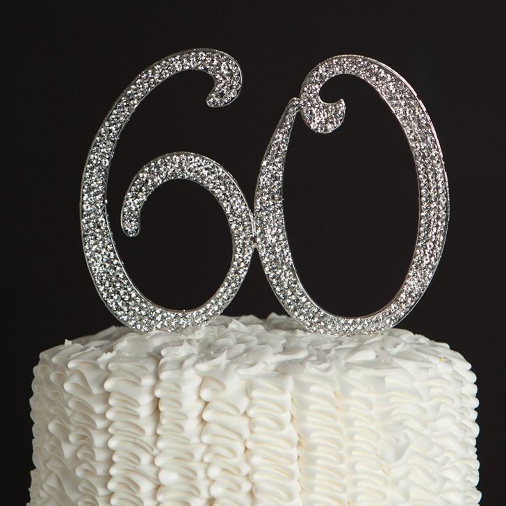 60Th Birthday Cake Toppers 60 Cake Topper For 60th Birthday Or Anniversary Silver Party