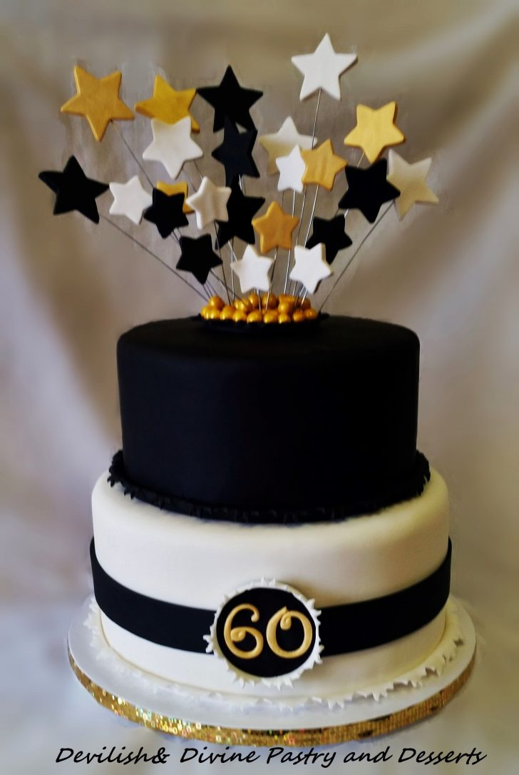 60Th Birthday Cake Toppers Black White And Gold 60th Birthday Cake Tortas De 50 Aos