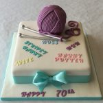 70Th Birthday Cake 70th Birthday Ball Of Wool And Knitting Needles Cake Adult