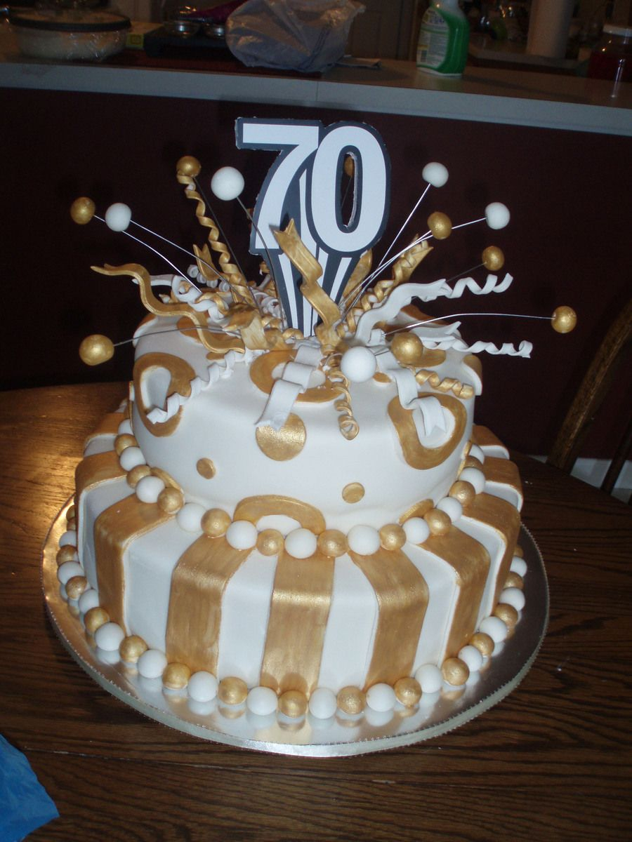70Th Birthday Cake 70th Birthday Cake Fondant Covered White Cakeplease Let Me Know What