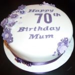 70Th Birthday Cake 70th Birthday Cake With Purple Flowers Wedding Birthday Cakes
