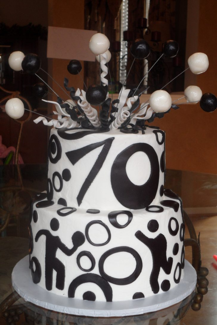 70Th Birthday Cake Black And White 70th Birthday Cake Cakecentral