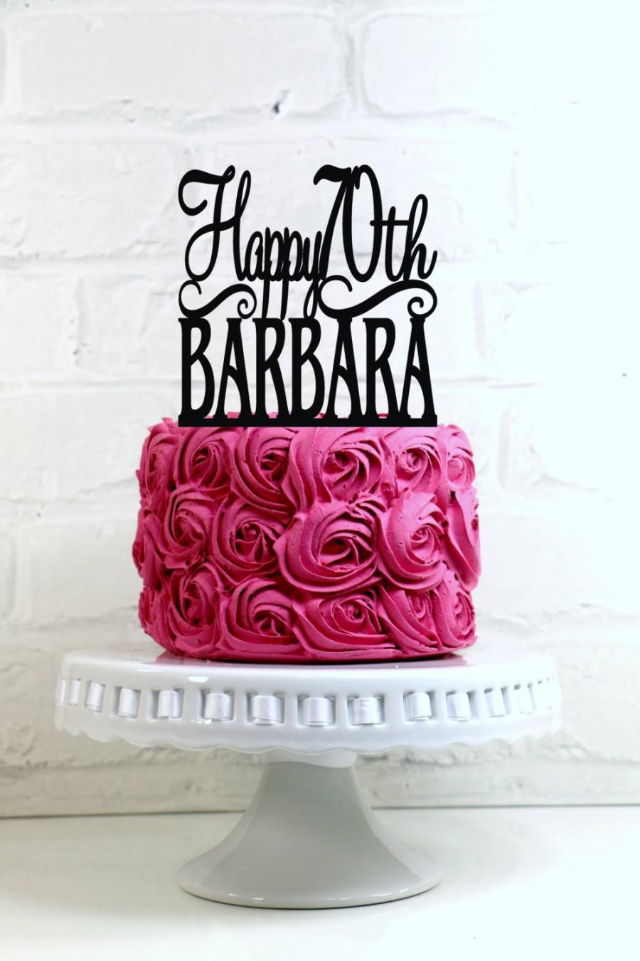 70Th Birthday Cake Happy 70th Birthday Cake Topper Personalized With Name And Age