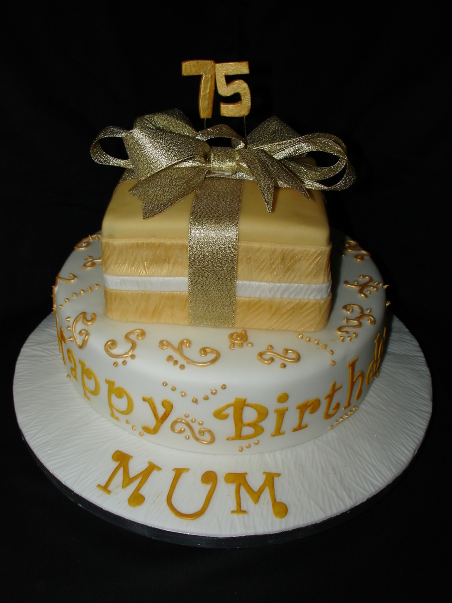 75Th Birthday Cake Gold And White 75th Cakecentral