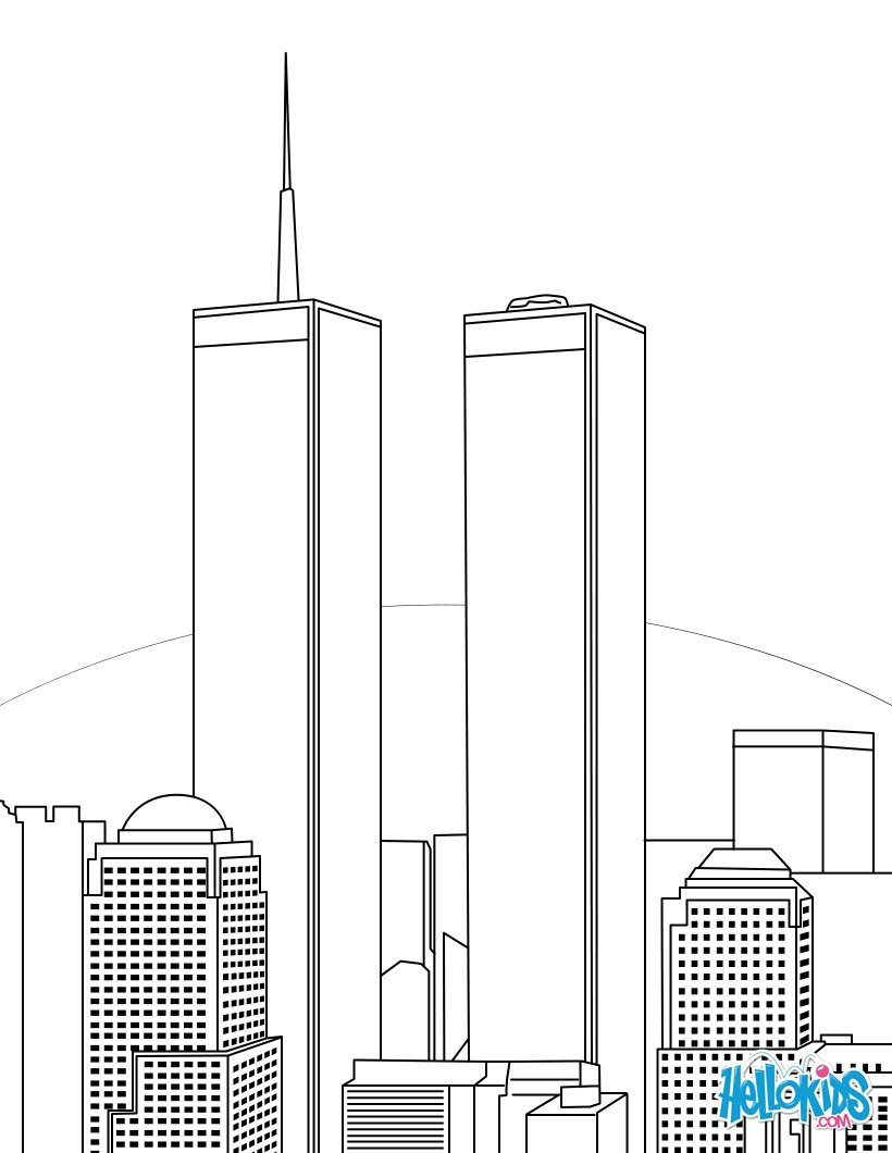 9 11 Coloring Pages World Trade Center Before 9 11 Coloring Page Free Printable For Twin
