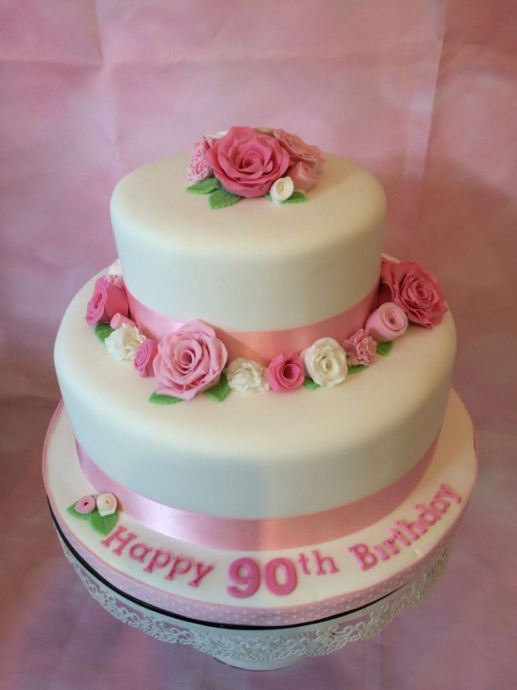 90Th Birthday Cake Ideas 2 Tier Vanilla Sponge With Sugar Flowers For A 90th Birthday 90th