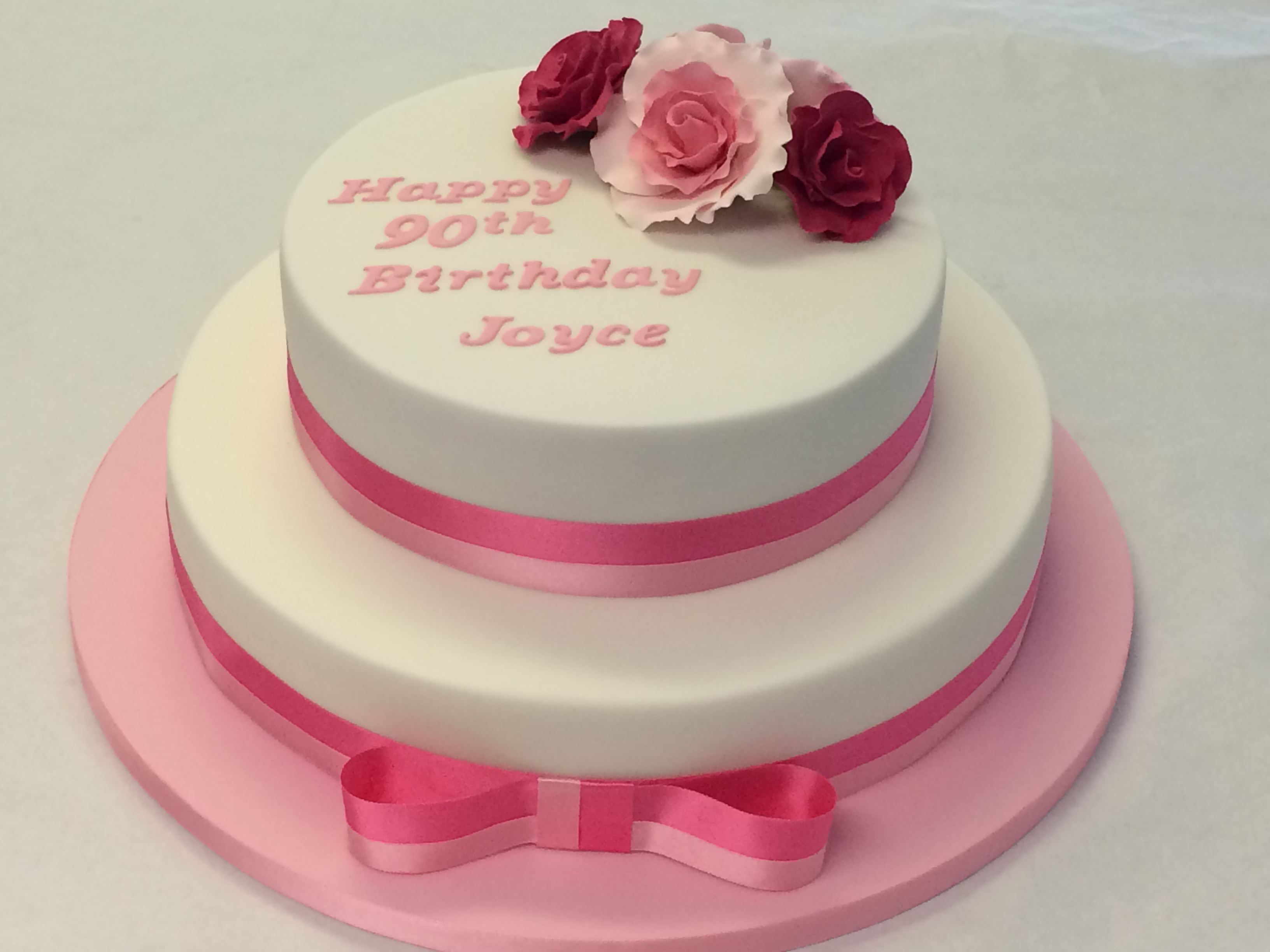 90Th Birthday Cake Ideas 2 Tiered 90th Birthday Cake With Roses Adult Birthday Cakes
