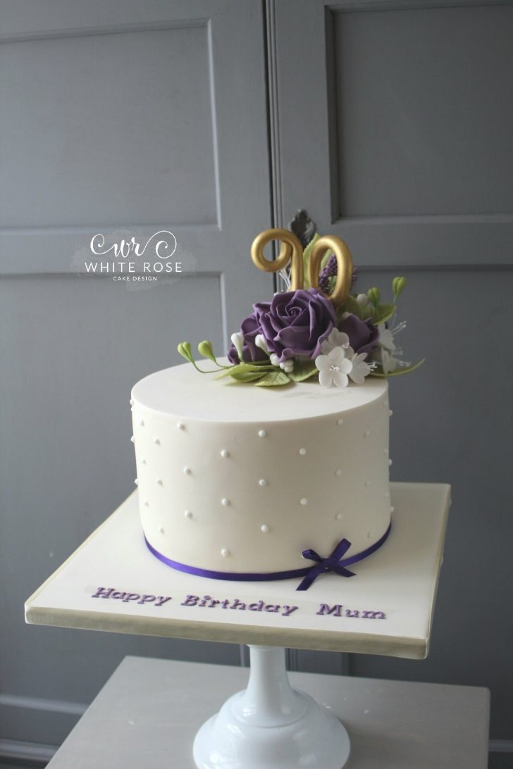 90Th Birthday Cake Ideas 90th Birthday Cake With Purple Flowers White Rose Cake Design