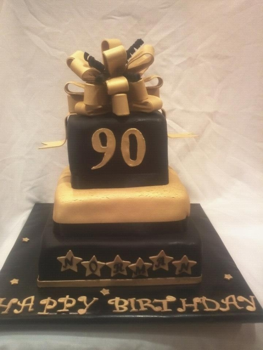 90Th Birthday Cake Ideas Black And Gold 90th Birthday Cake Cakecentral