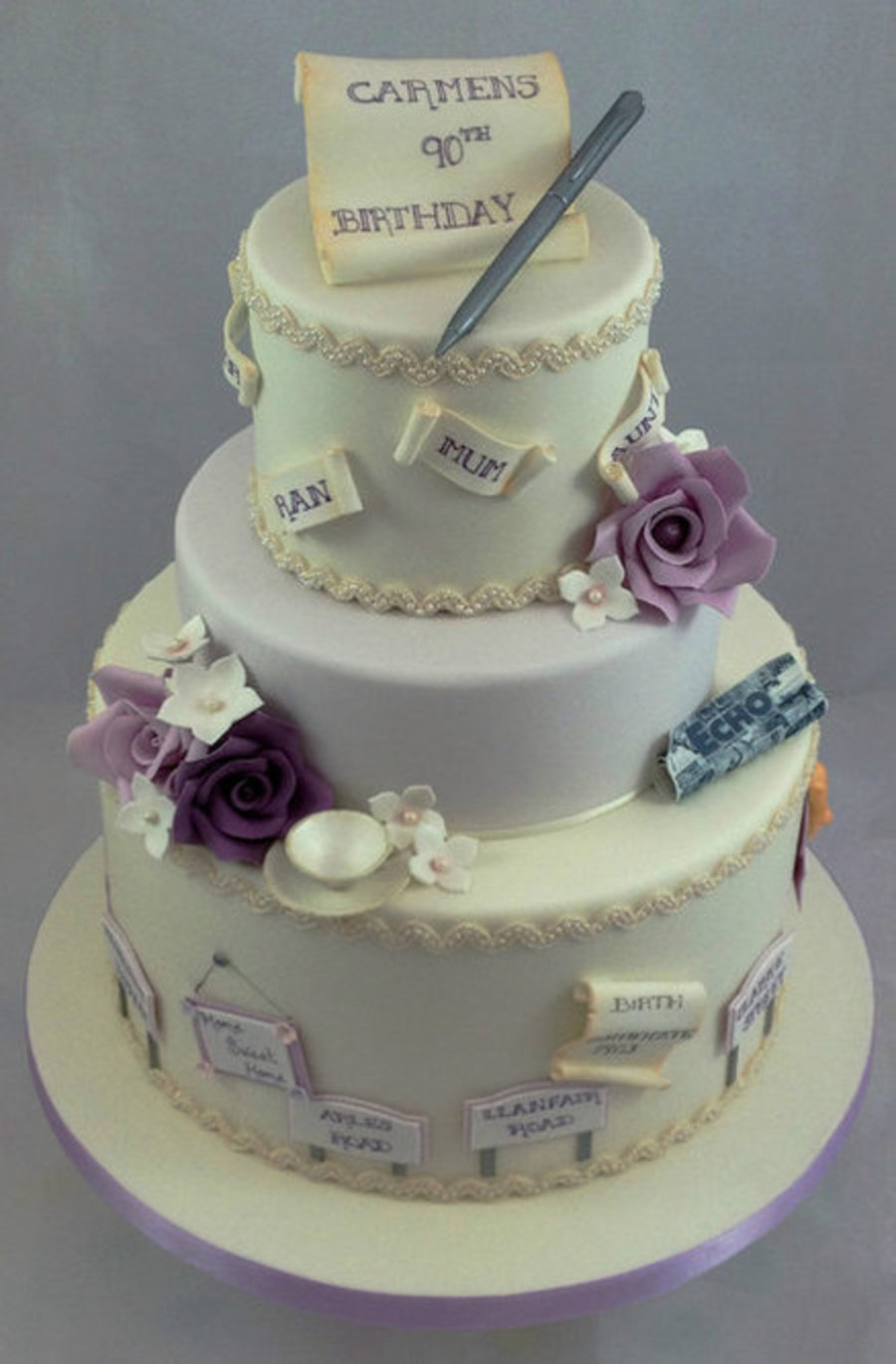 90Th Birthday Cake Ideas This 3 Tier 90th Birthday Cake Was A Very Special Order For Me As