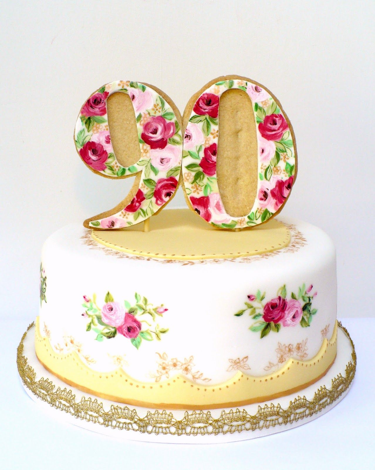 90Th Birthday Cake Ideas Wow 90th Birthday Cake To Match A Vintage Tea Set Beautiful But