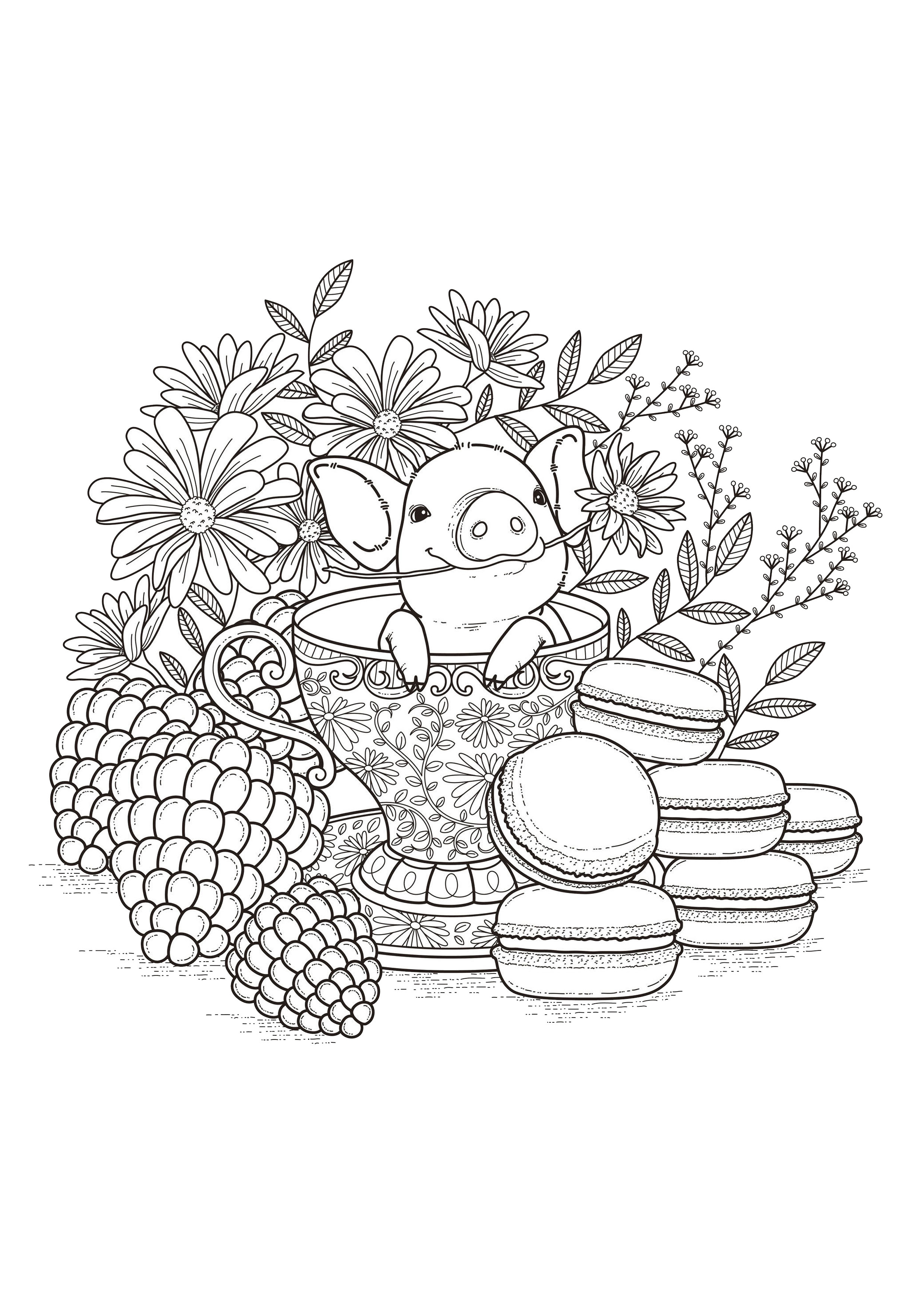 Adult Coloring Pages Ba Pork Pigs Adult Coloring Pages