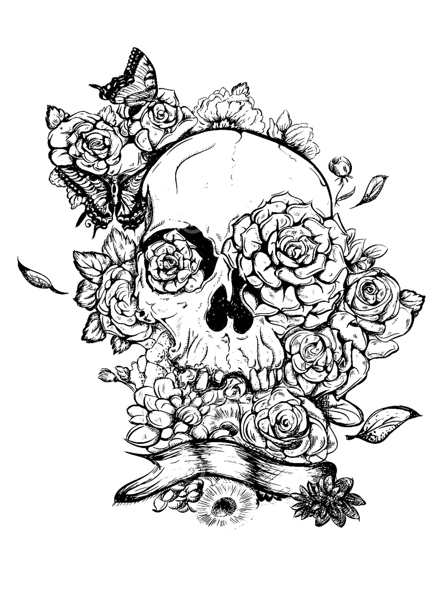 Adult Coloring Pages Skull And Roses Tattoo Tattoos Adult Coloring Pages