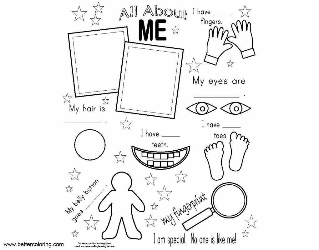 All About Me Coloring Pages All About Me Coloring Pages About My Body Free Printable Coloring