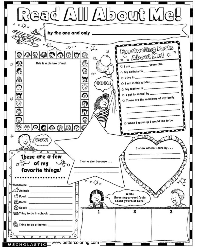 All About Me Coloring Pages Kids All About Me Coloring Pages Worksheets Free Printable