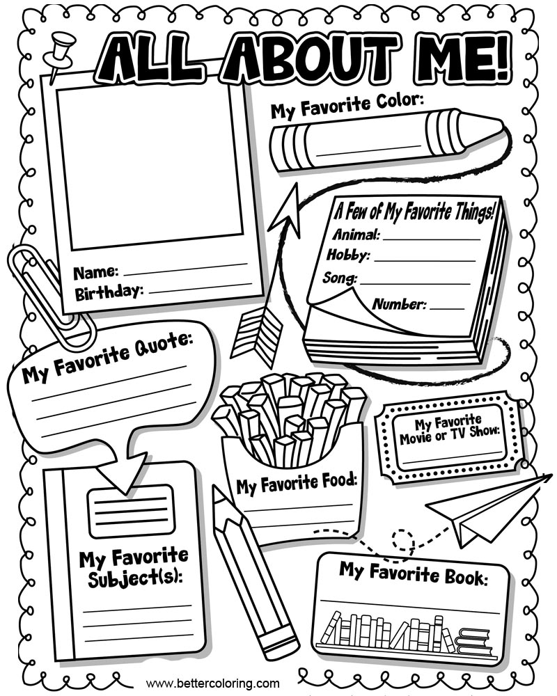 All About Me Coloring Pages Read All About Me Coloring Pages Worksheets Free Printable