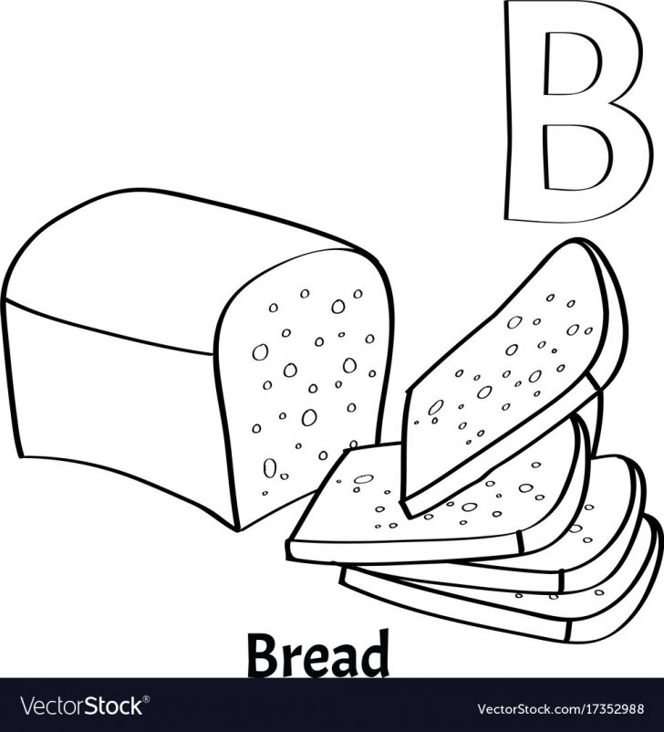 B Coloring Page Alphabet Letter B Coloring Page Bread Royalty Free Vector