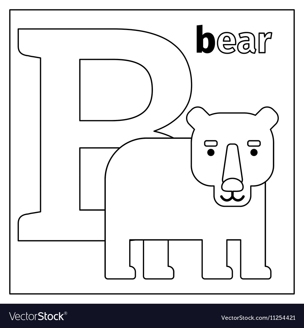 B Coloring Page Bear Letter B Coloring Page Royalty Free Vector Image