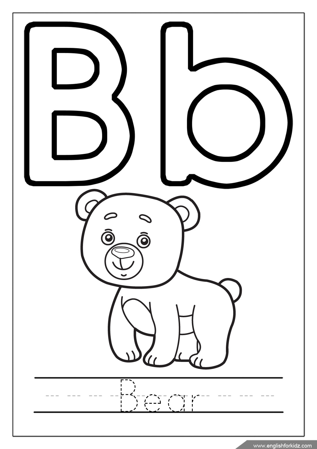B Coloring Page Letter B Worksheets Flash Cards Coloring Pages