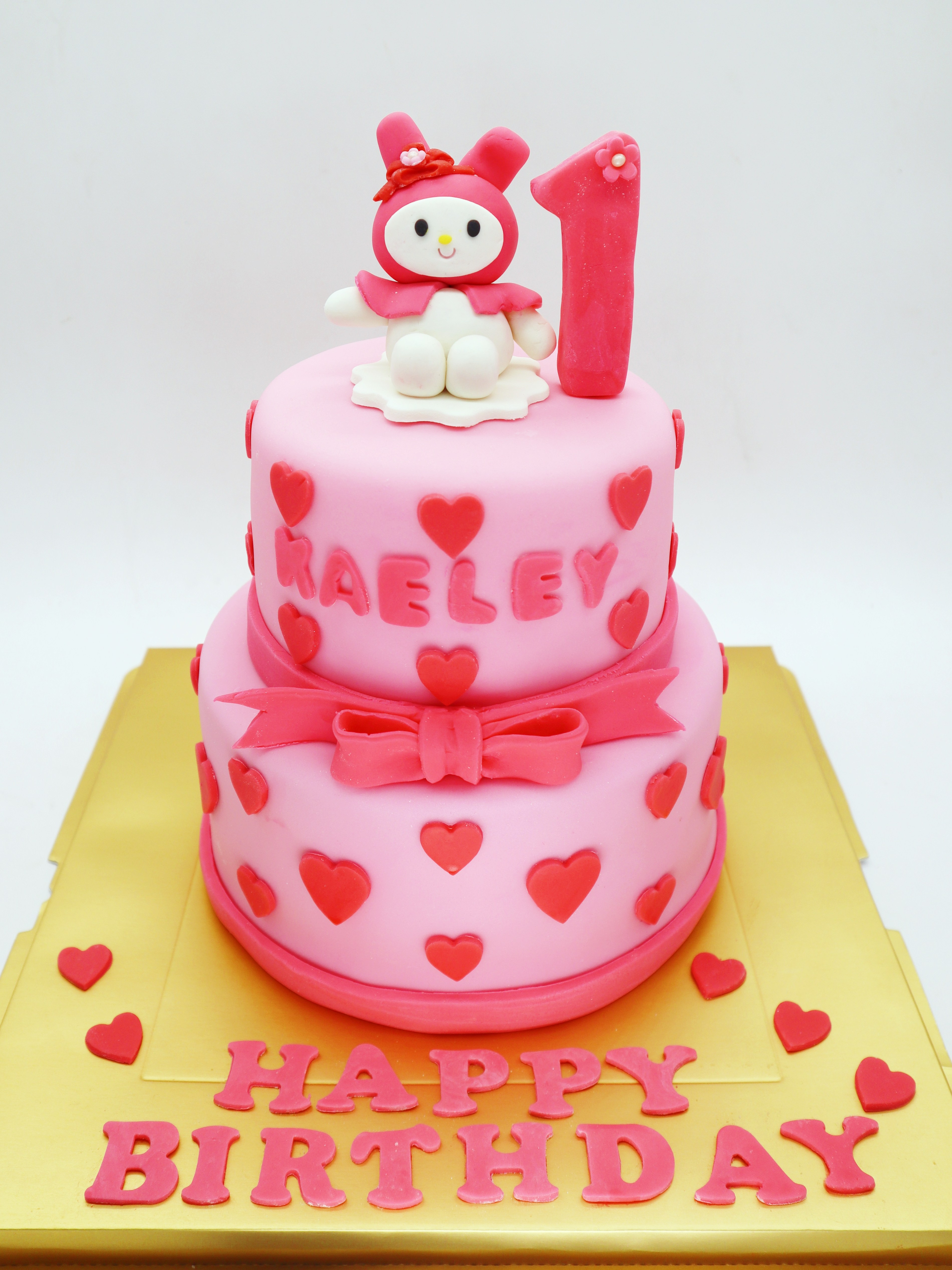Baby 1St Birthday Cake 2 Tier Ba 1st Birthday Cake Pink Hearts Cake Le Petit Empire