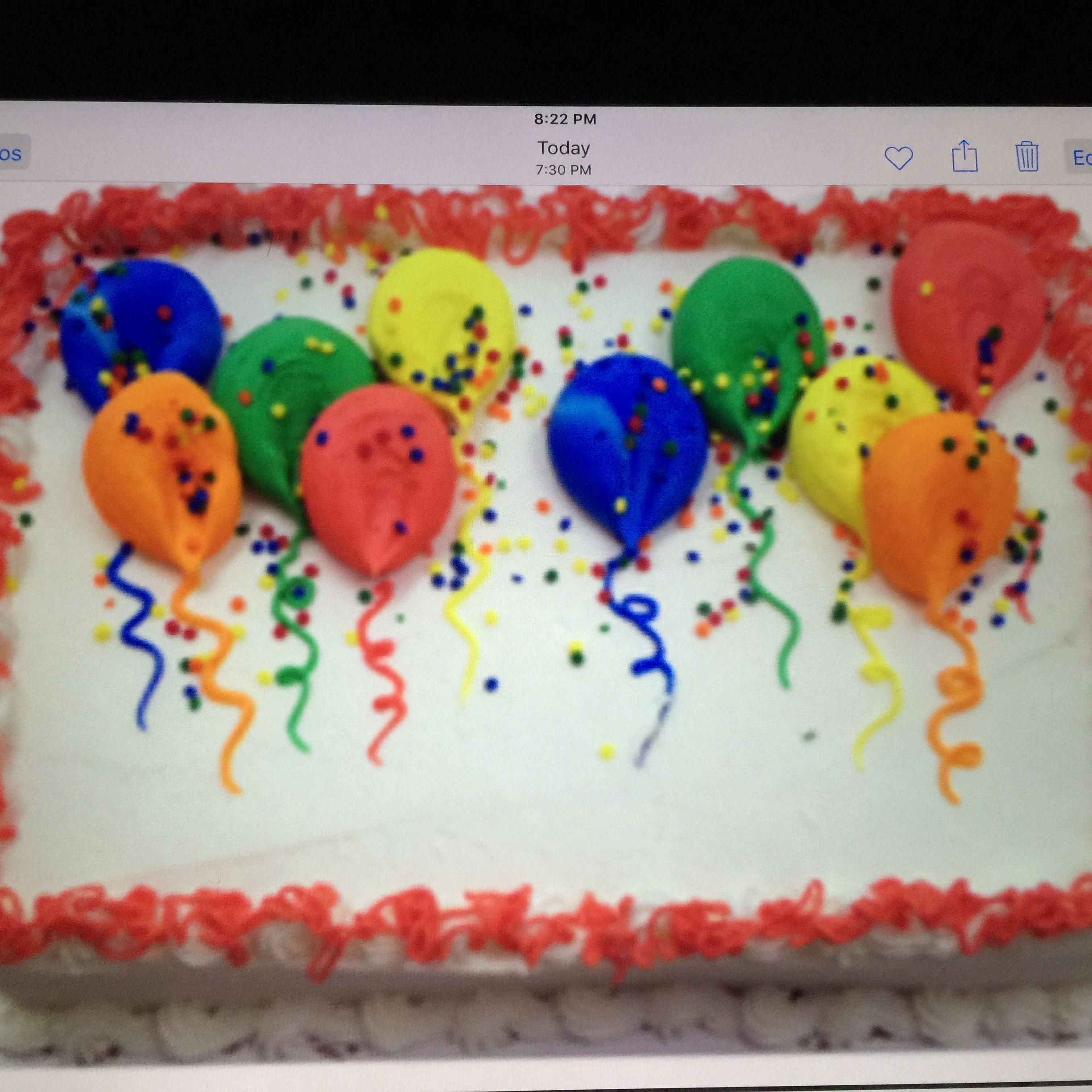 Balloon Birthday Cake Balloon Birthday Sheet Cake In Buttercream Cakes Pinterest