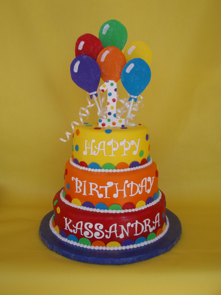 Balloon Birthday Cake Balloon Themed Birthday Cake Vibrant Colored Balloon Theme Flickr