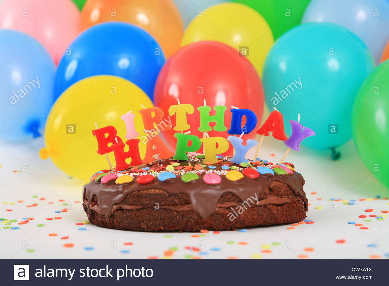 Balloon Birthday Cake Happy Birthday Chocolate Cake With Candles And Balloons Stock Photo