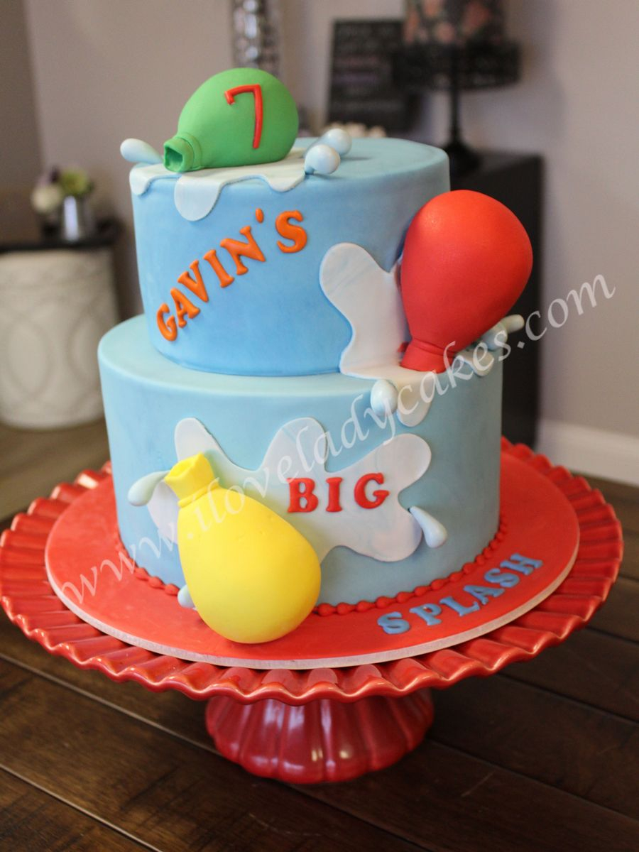 Balloon Birthday Cake Water Balloon Custom Birthday Cake Ladycakes Bakery
