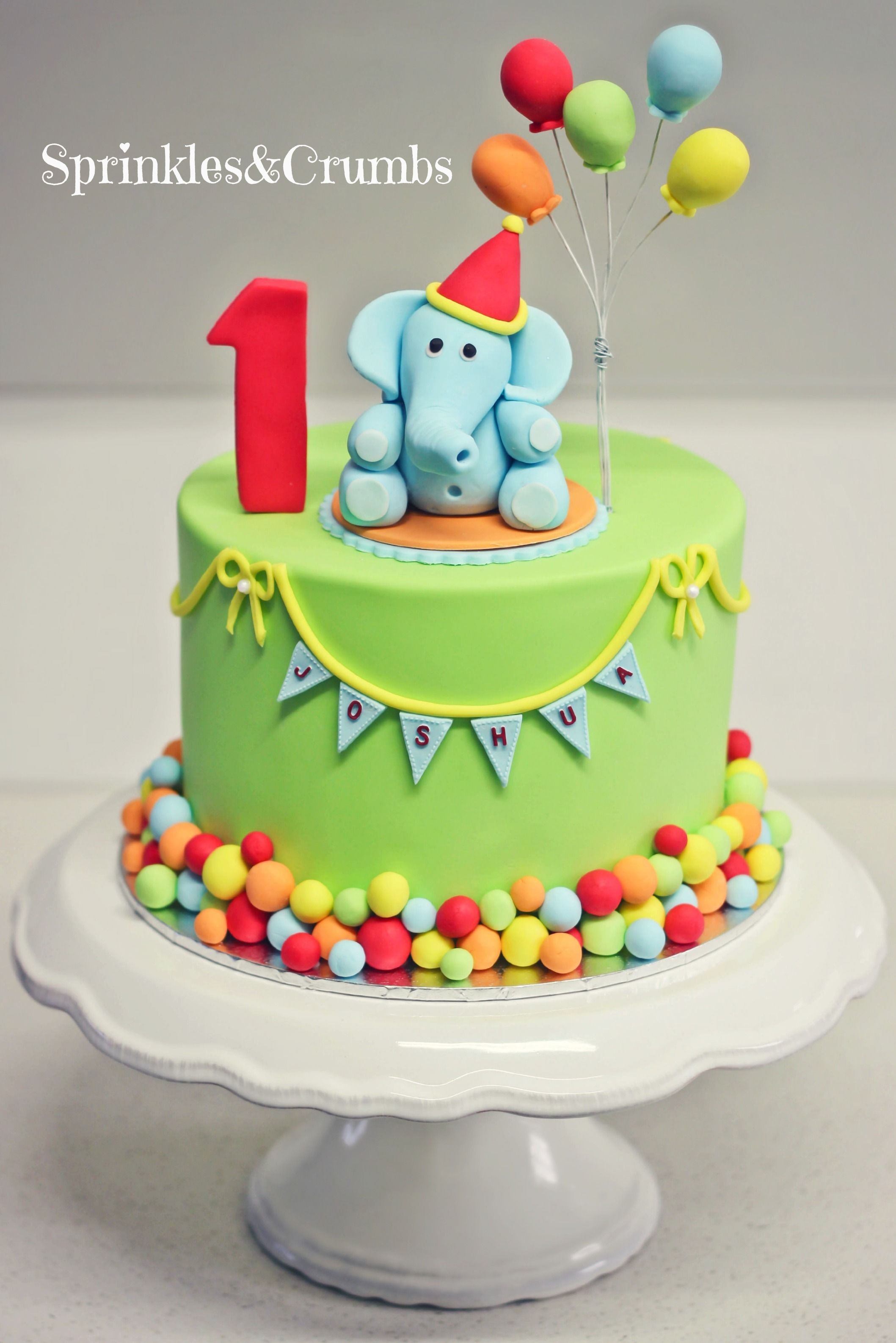 Birthday Cake Boy A Colourful Circus Themed First Birthday Cake Featuring An Elephant