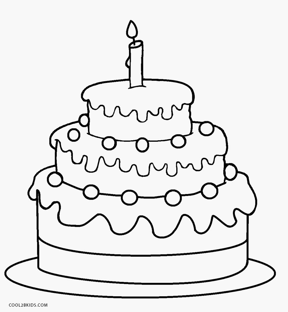 30+ Great Picture of Birthday Cake Coloring Page